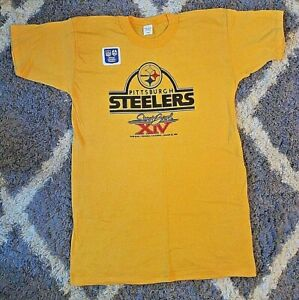 Rare Vintage 1980 NEW PITTSBURGH STEELERS NFL SUPER BOWL XIV CHAMPS TEE SHIRT L
