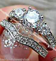 2.5 CT .925 Sterling Silver Round Diamond Engagement Ring Wedding Set size 4-11