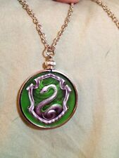 Harry Potter Slytherin crest doublesided Silver Charm Pendant Pottermore design