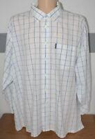 """Ben Sherman Shirt Mens Blue White Check L/Sleeve 5XL XXXXXL Pit to Pit 33"""""""