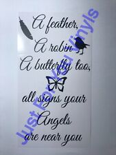 A Feather A Butterfly A Robin Loved Ones Are Near Wine Bottle vinyl Decal