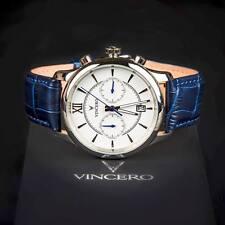 VINCERO Watches Chrono SILVER  WHITE Italian Leather Band Men's Luxury Watch