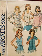 Vtg McCall's Carefree pattern 5002 Misses' set of Blouses & Scarf  sz 18 bust 40