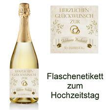 1 Aufkleber Flaschenetikett - Hochzeitstag - 50 Jahre Goldene Hochzeit - D1