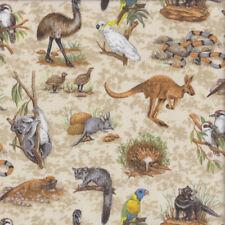 Australian Wildlife Animals Koala Kangaroo Echidna Tas Devil Quilting Fabric FQ