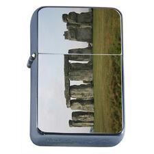 Famous Landmarks D7 Flip Top Oil Lighter Windproof Resistant Flame Stonehenge