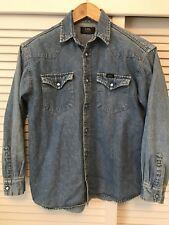 Lee Denim Vintage Retro Western Stonewash Shirt Size Small Unisex Regular Fit
