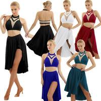 Women Contemporary Lyrical Latin Dance Dress Skirt Rumba Tango Ballroom Costume
