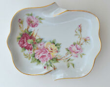 AMAZING LIMOGES FRANCE PORCELAIN HAND PAINTED ROSES SIGNED TRAY COLLECTION ART