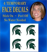 Michigan State Spartans Face & Body Decals Temp Tattoos Set of 4 NCAA Licensed