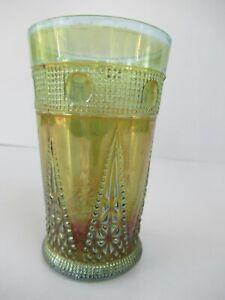 "Antique Jain Indian Carnival Glass Tumblers Beaded Spears Variant jain Blue""F020"