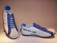 Scarpe sportive basse sneakers Spino bambino shoes pelle tela celesti velcro 35 jpxPW
