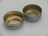 1890 Antique Sterling Solid Silver Pair Open Salts (1386-B-LNY)