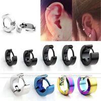 Pair Stainless Steel Round Hoop Huggies Earrings Men Women Jewelry Width 3-6mmCA