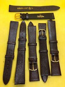 Lot Of 6 JB Champion 11/16 18mm Long Brown Lizard Calf Leather Watch Bands #472