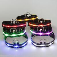 LED Black Nylon Pet Dog Cat Collar Night Safety Punctate Light-up Flashing