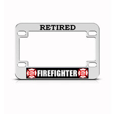 Metal Bike License Plate Frame Retired Firefighter Motorcycle Accessories Chrome