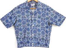 Vintage Blue Geometric 1960s Duke Kahanamoku Hawaiian Shirt