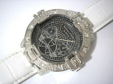 Iced Out Bling Bling Techno King Big Case Leather Band Men's Watch White #3264