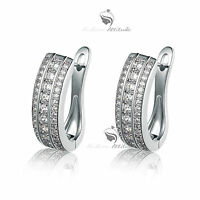 18k white yellow gold made with SWAROVSKI crystal luxury huggies earrings