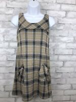 Aqua Womens Yellow Gray Plaid Layering Jumper Sheath Dress XS