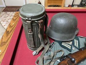 WWII German Gas Mask & Canister complete with straps