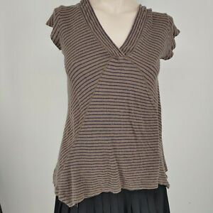 postmark anthropologie top size XS brown and blue stipe v neck stretch