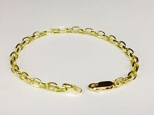 "18k solid gold handmade ROLO link men's chain/Bracelet 6"" 8 grams 4.7 MM"
