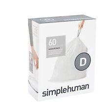 Simplehuman code/size D (20 litres) bin bag liner, CW0254 (Box of 60)