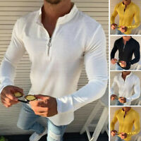 Fashion Men's Muscle Long Sleeve Shirt GYM Sport Slim Fit T shirt Henley Blouse
