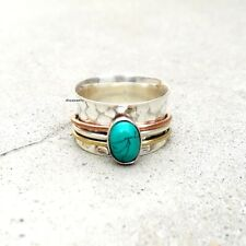 Turquoise Solid 925 Sterling Silver Spinner Ring Meditation Ring Size sr123