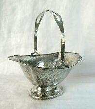 Antique J S Co Sterling Silver Footed BASKET - Hand Hammered