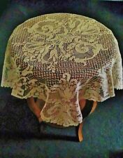 """Lace Table Topper Tablecloth Antique Gold Empress 30"""" x 30"""" Accent livingroom"""