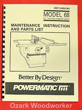 "POWERMATIC 68 New Table Saw 12"" Operator Parts Manual 0533"