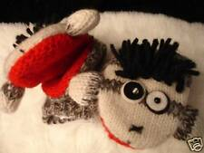 NWT deLux PUNK ROCK SOCK Monkey MITTENS knit wool LINED ADULT puppet hat separat