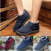Women's Winter Warm Shoes Fabric Fur-lined Slip On Ankle Snow Boots Sneakers