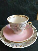 Vintage USSR RPR PFF Riga porcelain tea pair cup saucer plate gilded goldplated