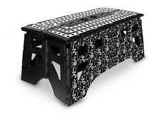 eXpace 20 Inch Wide Heavy Duty Portable Folding Step Stool, Black Floral