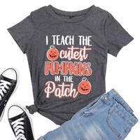 Women's Pumpkin Halloween Costume T-Shirts Funny Graphic Casual Tee Tops Shirts