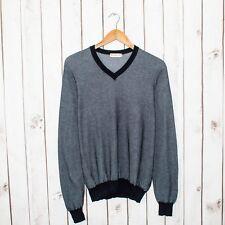 MELINDA GLOSS Men's Vneck Pullover Sweater Blue 100% Cotton Sz Large Italy