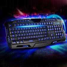 LED Blue Backlit Backlighting USB Wired Game Keyboard Illuminated For Laptop PC