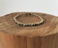14K Yellow Gold Sapphire and Diamond Bracelet 9.2g