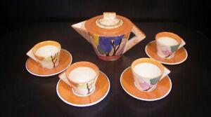 Clarice Cliff Metropolitan Museum Art Deco BIZARRE AUTUMN Teapot 4 Cups Saucers