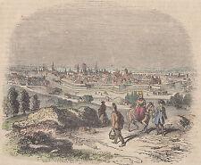Danzig/Gdansk ciudad vista rara colorierte madera clave-Litografia 1859