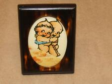 """Vintage Tano of Madrid Mini Faux Tortoise Lucite Picture Frame w/ Cupie Dolls 3"""""""