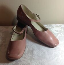 Pre-Owned Women's Nickels Casaba Pink Leather Mary Janes Sz10M