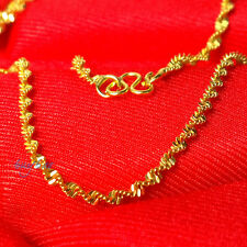 Yellow Gold Filled Plating Double Water Wave Solid Color Womens Chain Necklace