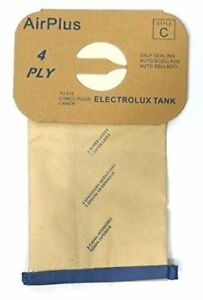 8 (Eight) Bags for Electrolux Canister Vacuum Style C - 4 Ply Bags with Rubber S