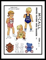 McCall #1256 SUNSUIT Toddlers Sewing Pattern BABY Child's UNISEX Romper Playsuit