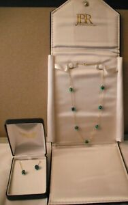 NEW OLD STOCK 14kt Gold ART GLASS Necklace & Earrings Set WITH Gift Boxes!